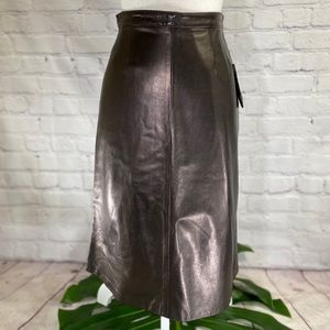 NWT! Rizal Brown Leather High Waisted Skirt